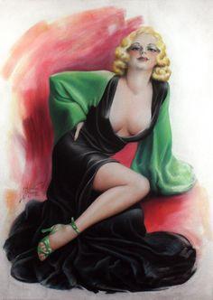 'Pre-Code Cover Portrait of Verna Hillie' by Cardwell Higgins : Original Pastel on Illustration Board Vintage Movie Stars, Vintage Movies, Earl Moran, Pre Code, Pastel Portraits, Pin Up Art, Pin Up Style, French Vintage, Vintage Art