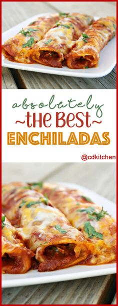Absolutely The Best Enchiladas - These amazing Tex-Mex enchiladas are made with ground beef, three kinds of cheese, spicy tomatoes, chili, and corn tortillas. Authentic Mexican Recipes, Mexican Food Recipes, Mexican Desserts, Flour Tortilla Enchiladas, Casserole Enchilada, Cheese Enchiladas, Brisket Enchiladas Recipe, Easy Beef Enchiladas, Mexican Enchiladas