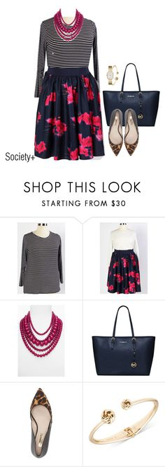 """""""Plus Size Floral Skirt - Society+"""" by iamsocietyplus on Polyvore featuring BaubleBar, MICHAEL Michael Kors, Louise et Cie, Anne Klein, Kate Spade, plussize, societyplus and iamsocietyplus"""