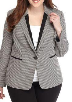 Kasper BlackIvory Plus Size One Button Houndstooth Jacket