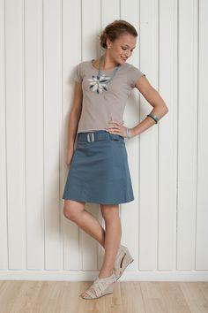 Ethical Fashion, Sewing Ideas, Denim Skirt, Camper, Scoop Neck, Pretty, Happy, Skirts, Tops