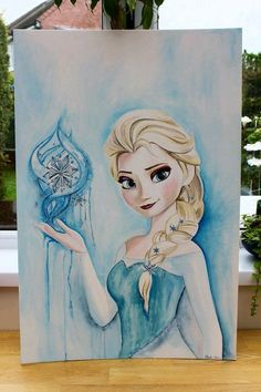 ORIGINAL Large Elsa Frozen Painting 20 x 30 inches Ice Queen Disney Fine Art Painting Beautiful Magical and Uplifting Frozen Painting, Frozen Art, Elsa Frozen, Disney Frozen, Disney Kunst, Arte Disney, Disney Sketches, Disney Drawings, Deco Disney
