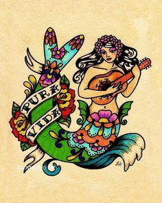 Pura Vida mermaid tattoo... Hot!