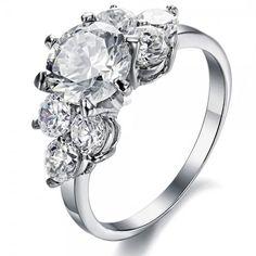 #AdoreWe #Jeulia Jeulia  Round Cut Created White Sapphire Engagement Ring - AdoreWe.com