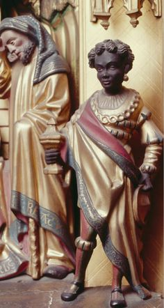 Anonymous Flemish Artist Black Magus from Adoration of the Magi Frankfurt (c. 1480) Polychrome and Gilded Wood, (full) 232 x 116cm.