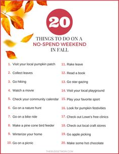 20 Things to Do on a No-Spend Weekend in Fall