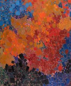 """ALBERMARIE"", 1962, oil on canvas (various red/blue/orange/black squares), by LYNNE MAPP DREXLER, (American 1928-1999) signed, titled and dated verso"