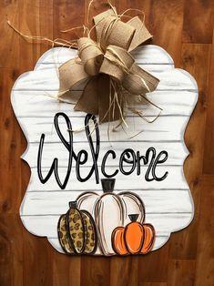 Burlap Door Hangers, Fall Door Hangers, Letter Door Hangers, Plant Hangers, Fall Crafts, Holiday Crafts, Football Door Hangers, Wooden Door Signs, Halloween Door Hangers