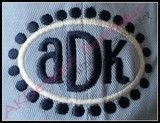 """Sample of the 2x3 size frame stitched on a hat with """"ADK"""" from our #1382 Reese Font and Monogram [sold separately] - without applique fabric..."""