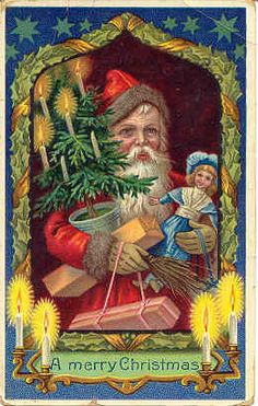 """"""" Merry Christmas """" Vintage 1919 Post Card. Printed in Germany with a gelatin surface, DB-UN with writing on back dated 1919. Two light verical creases at top, and rounded corners but in Very Good condition otherwise. Karodens Vintage Post Cards at www.bonanza.com/booths/karoden"""