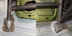 Vauxhall Magnum roll cage - sill extensions at base of main loop and front tube.