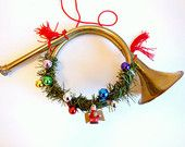 French Horn Christmas Decoration, Brass Holiday Decor, Gold with Tassels Ornaments, Musical Instrument Decoration