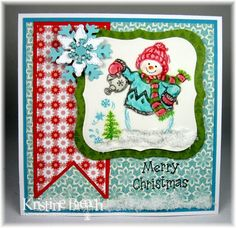 """Ink Something 2 made this card using Serendipity Stamps' """"Snowman With Watering Can"""" rubber stamp."""