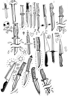 knifes sketches,  #tatoo #illustration #skull  <3