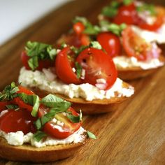 Cherry Tomato Crostini. A rendition of the classic caprese salad and a perfect early spring snack.