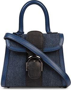 DELVAUX Brillant mini blue denim/alligator mat noir tote