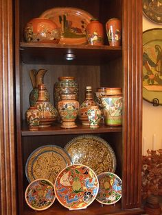 Corner cupboard Talavera display Mexican style