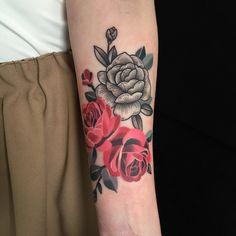 American, rose, arm tattoo on TattooChief.com