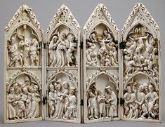 Polyptych with Scenes from Christ& Passion. 1350 Geography: Made in Rhineland, France or German Culture: French or German Medium: Ivory, paint, and gilding with metal mounts Medieval World, Medieval Art, Historical Art, Bone Carving, Objet D'art, Religious Art, Religious Symbols, Gothic Art, Sacred Art