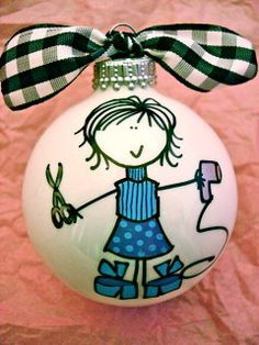 Hairstylist  Hand Painted Personalized Ornament by HappyYouHappyMe, $14.00