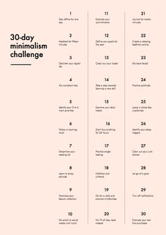 30 Day Minimalist Challenge. Love this!