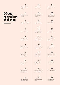 30 Day Minimalist Challenge. Love this!