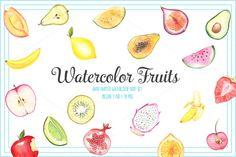 FRUIT WATERCOLOR SET by Sunny Squirrel shop on @creativemarket