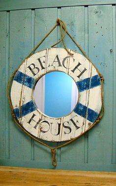 Mirror Wall Art Beach House Life Preserver Ring Wall Mirror in Weathered White Life Preserver Ring, Mirror Wall Art, Beach Wall Art, Beach Signs, Recycled Furniture, Home Signs, Wall Hooks, Coastal Decor, Seashells