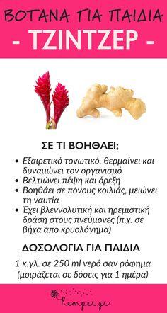 Βότανα για παιδιά #τζιντζερ #ναυτια #παιδια#κρυολογημα #ανορεξια #βοτανα #υγεια Healing Herbs, Brain Food, Health Matters, Kids Health, Homeopathy, Weight Loss Detox, Vegan V, Health Remedies, Health