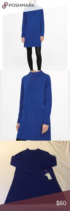 COS A Line Merino Wool Dress Made from a fine knitted merino wool, this dress has a right, round neckline. A casual A-line fit is completed with long sleeves, a neat straight hemline and minimal finishes. Never worn. Tags were removed to try on. 100% merino wool/Machine washable COS Dresses