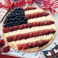 Patriotic Dessert Pizza, (use sugar cookie dough in replace of the crust)