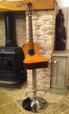Guitar chair Classical music home decor furniture Music Furniture, Unique Furniture, Home Decor Furniture, Furniture Design, Guitar Chair, Deco Originale, Cool Guitar, Guitar Art, Acoustic Guitar