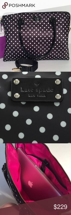 Kate Spade Laptop Bag New with tags. Adorable! Nylon polkadot with patent leather handles. Has removable Crossbody strap. Zip top, interior side pockets and a special compartment designed just for your Mac! Plenty of room for all your other work stuff too- very roomy! Measures: 11.5×16 inches. Handle drop is 7.1 inches. Fits a 15 inch laptop. Silver Kate logo hardware. Bright pink interior. No trades. Price is firm. kate spade Bags Laptop Bags