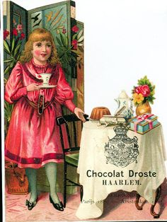Cacao droste girl beside table with cacao and chocolate products