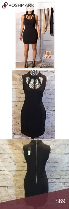 SZ LG KARDASHIAN KOLLECTION CAGED BODY-CON DRESS Stunning dress from the Kardashian Kollection with a caged neckline and exposed zip back. Nwt Kardashian Kollection Dresses Mini