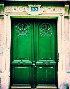 Photograph of a rustic, emerald green door in the Latin Quarter, Paris, France. I want emerald doors. Old Doors, Windows And Doors, Entry Doors, Exterior Doors, Entryway, Emerald City, Emerald Green, Emerald Color, Emerald Isle