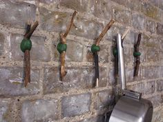 how to make beautiful hooks from twigs and sugru - neat idea