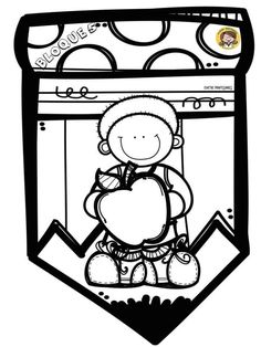 Kids English, School Themes, Colouring Pages, School Projects, Back To School, Preschool, Clip Art, Make It Yourself, Black And White