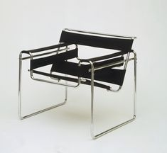 "Club chair by Marcel Breuer for Bauhaus Design. The chair became known as the ""Wassily"" after the painter Kandinsky, Breuer's friend and fellow Bauhaus instructor, who praised the design when it was first produced. Designed in Bauhaus Chair, Bauhaus Furniture, Modern Furniture, Furniture Design, Marcel Breuer, Table Design, Chair Design, Decor Interior Design, Interior Decorating"