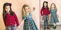 #kidsclothing red wool/cashmere cardigan + ruby/grey tartan kilt and indigo/grey tartan dress with smock