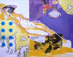 """""""Georgione's Sleeping Venus,"""" purple collage by artist Helen Gorrill 