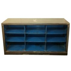 "Vintage Industrial Blue and Steel Metal Console (9) Cubby Bookshelf; 56"" Long 