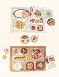 Japanese watercolor illustration - set meals