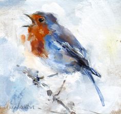 "Saatchi Online Artist: Lucy Newton; Acrylic, Painting ""Robin"""