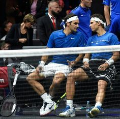Roger #Federer and Rafael Nadal at the #Lavercup 2017