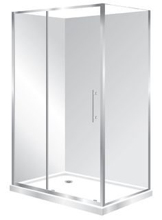 Features one piece acrylic lining, Low profile tray with 40mm upstand. 1950mm high glass 6mm safety glass. Polished quality metal chrome handle, inner and outer 2 Panel Sliding Door is reversible to open left to right or right to left. high quality quick release rollers, Available in White and Silva