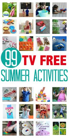 99 TV Free Summer Activities For Kids – No Time For Flash Cards This would be great to share with parents! 99 TV FREE ACTIVITIES FOR KIDS Get your kids away from thier screens and having fun! Great list of summer activities! Free Activities For Kids, Preschool Activities, Indoor Activities, Babysitting Activities, Everyday Activities, Alphabet Activities, Family Activities, Summer Fun For Kids, Free Summer