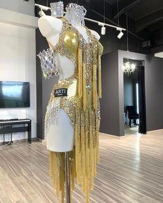 Stephen Yearick Wedding Dresses, Latino Dance, Latin Dance Dresses, Fringe Dress, Ballroom Dress, Danza Latina, Gold Dress, Fashion Fabric, Costume Dress