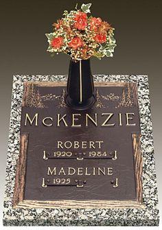 Double Interment Bronze Gravestone,  Classic: Evergreen, GB-73, Moonlight Gray Granite, Size(s): B