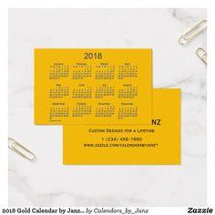 2018 Gold Calendar by Janz Euro Business Card